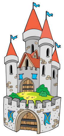 Cartoon castle with fortification - illustration. Vector