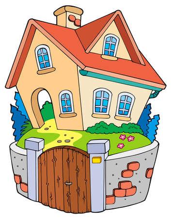 haus garten: Cartoon Einfamilienhaus - Abbildung.