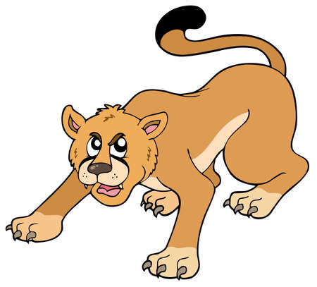 lioness: Cartoon puma on white background - illustration.