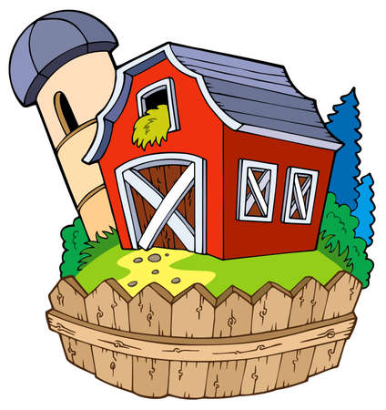 farm structure: Cartoon red barn with fence - illustration.