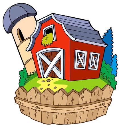granary: Cartoon rosso fienile con recinzione - illustrazione.