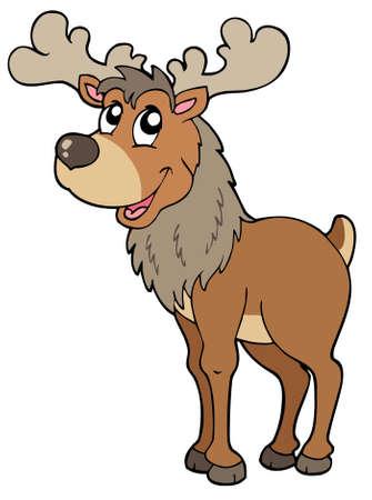 Cartoon reindeer on white background - illustration. Stock Vector - 7929292