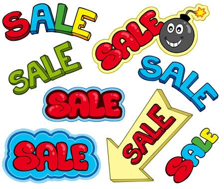 Cartoon sale signs - illustration. Vector