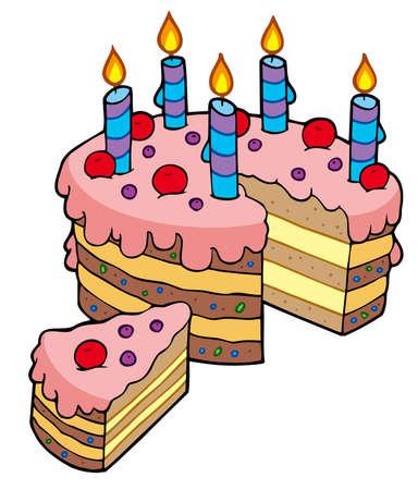 torta panna: Torta di compleanno del fumetto affettato - illustrazione.