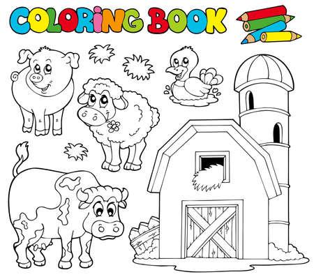 vaca caricatura: Libro para colorear con animales de granja - ilustraci�n.