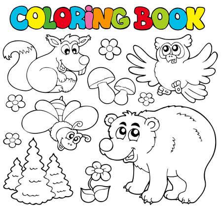 libro caricatura: Libro para colorear con animales de bosque - ilustraci�n.