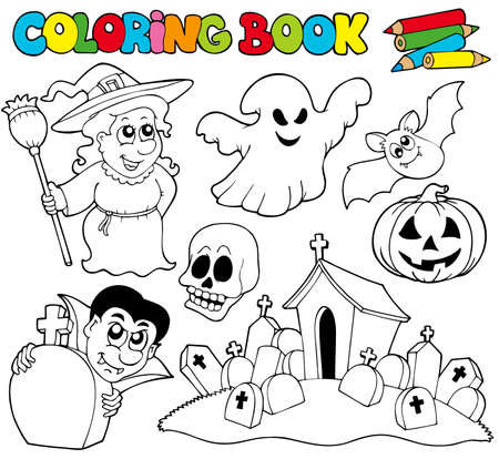 Coloring book with Halloween theme - illustration. Vector