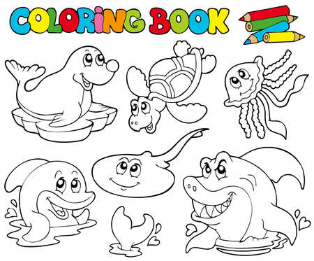 marine environment: Coloring book with marine animals  - illustration. Illustration