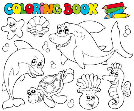 Coloring book with marine animals  - illustration. Vector