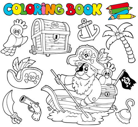 pirate hat: Coloring book with pirates  - illustration. Illustration