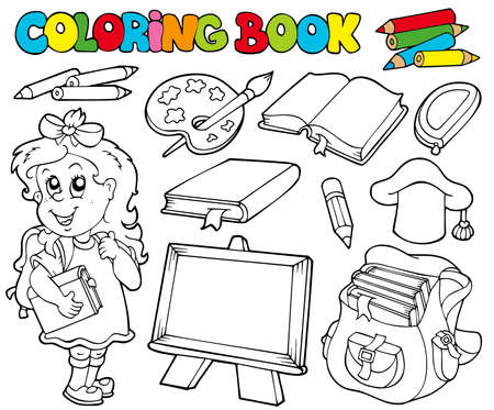 pencil case: Coloring book with school theme  - illustration.