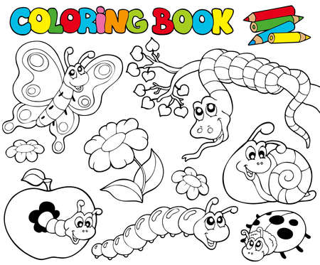 gusanos: Libro para colorear con peque�os animales - ilustraci�n.