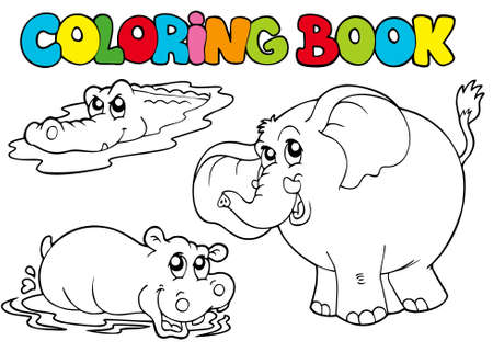 Coloring book with tropic animals  - illustration. Vector