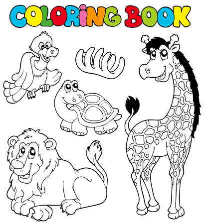 Coloring book with tropic animals - illustration. Stock Vector - 7929400