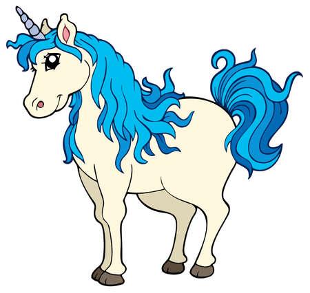 pony tail: Cute unicorn on white background - illustration.
