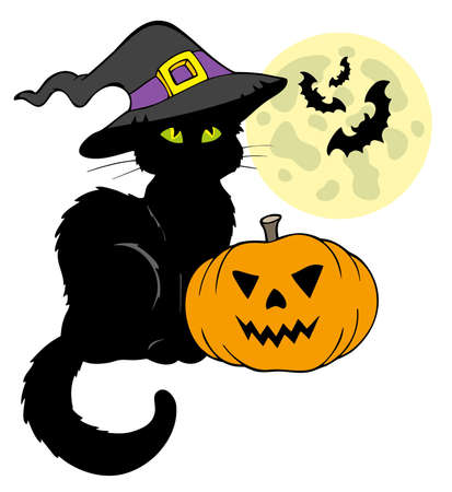 Halloween cat silhouette with Moon - illustration. Vector