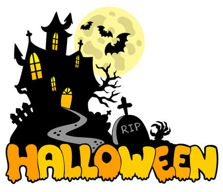 Halloween house with sign 1 - illustration. Stock Vector - 7929338