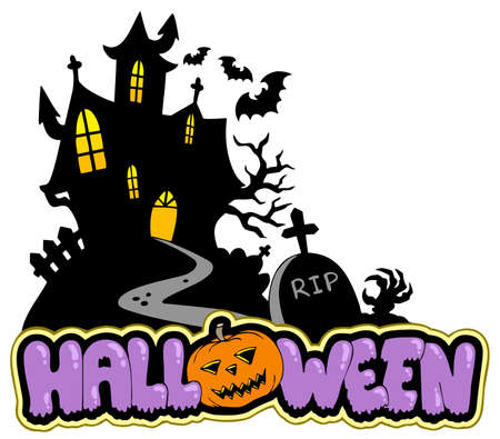 gravestone: Halloween house with sign 2 - illustration.