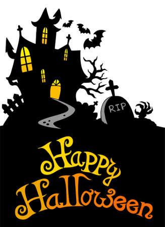 gravestones: Halloween house with sign 3 - illustration. Illustration