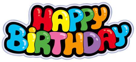 Signo de dibujos animados de feliz cumpleaños - ilustración. Ilustración de vector