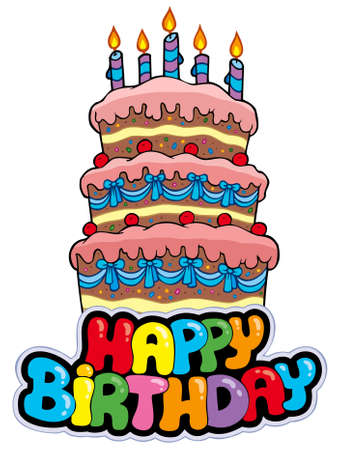cake with icing: Happy birthday sign with tall cake - illustration.