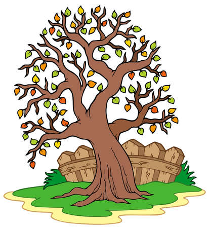 Leafy tree with fence - vector illustration. Vector Illustration