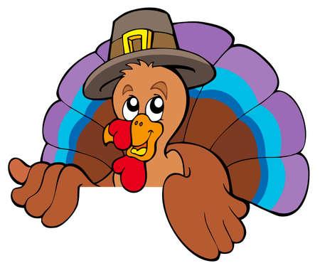 lurk: Turchia di cartone animato in agguato nel cappello - illustrazione.