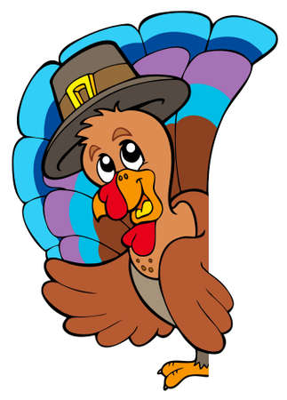 pilgrim hat: Lurking Thanksgiving turkey illustration.