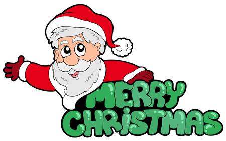 Merry Christmas sign with Santa - vector illustration. Stock Vector - 7929354