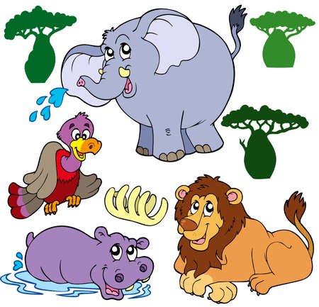 hipopotamo caricatura: Conjunto de animales africanos - ilustraci�n.