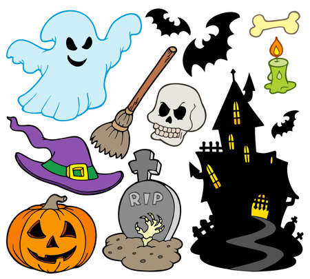 broomstick: Set of Halloween images - illustration. Illustration