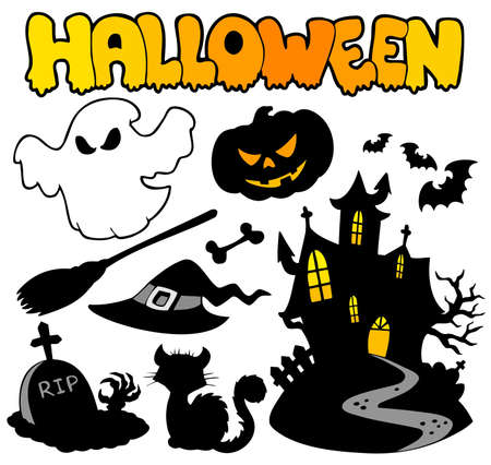 Set of Halloween silhouettes - illustration. Vector