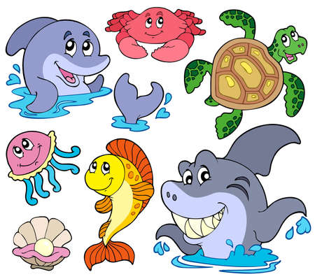 Set of marine animals - vector illustration. Stock Vector - 7929382
