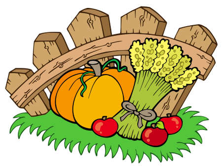 Thanksgiving motive with harvest - illustration. Vector
