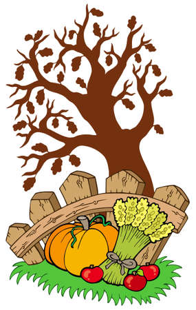 Thanksgiving motive with tree - illustration. Vector