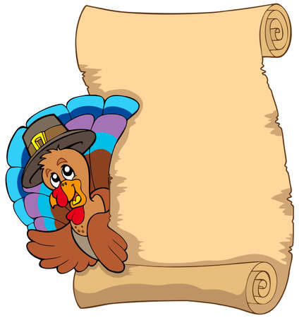 thankful: Thanksgiving scroll with turkey  - illustration.