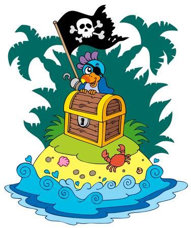 schateiland: Treasure island met piraat parrot - illustratie. Stock Illustratie