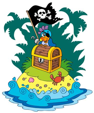 island clipart: Treasure island with pirate parrot - illustration. Illustration