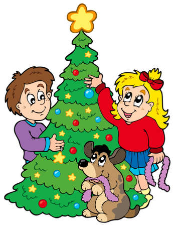 Two kids decorating Christmas tree - illustration. Vector