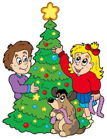 Two kids decorating Christmas tree - illustration. Vector