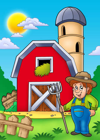 Big red barn with farmer - color illustration. Stock Photo