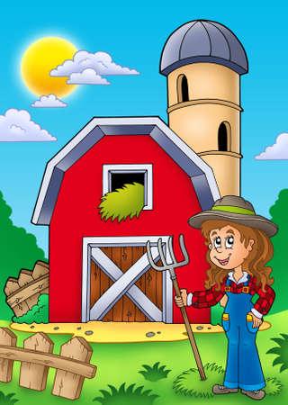 Big red barn with farmer girl - color illustration. Stock Photo