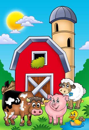Big red barn with farm animals - color illustration.