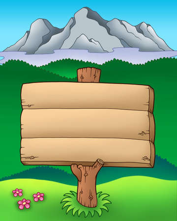 Big wooden sign with mountains - color illustration. Stock Photo