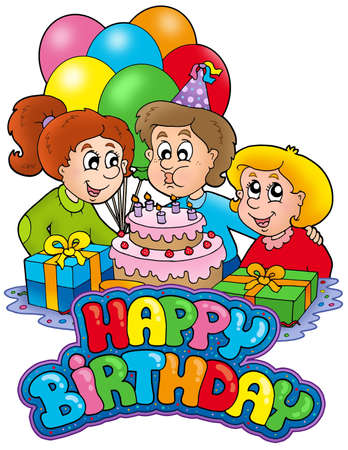 Birthday sign with happy family - color illustration. illustration