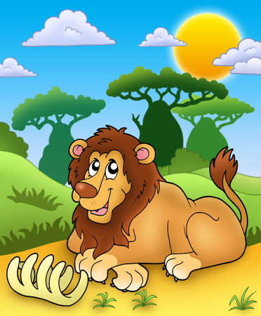 african cartoon: Cute lion with bone - color illustration. Stock Photo