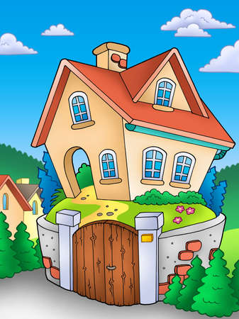Family house on countryside - color illustration. Stock Illustration - 7929331