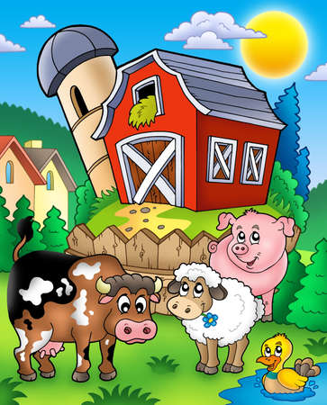 barnyard: Farm animals near barn - color illustration.
