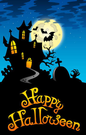 Halloween image with old mansion - color illustration. Stock Illustration - 7929282