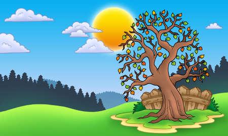 Leafy tree in autumn landscape - color illustration. Stock Illustration - 7929345